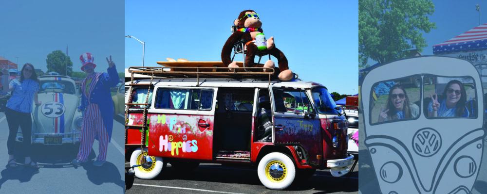 vw bug bus with giant stuffed animal riding on top