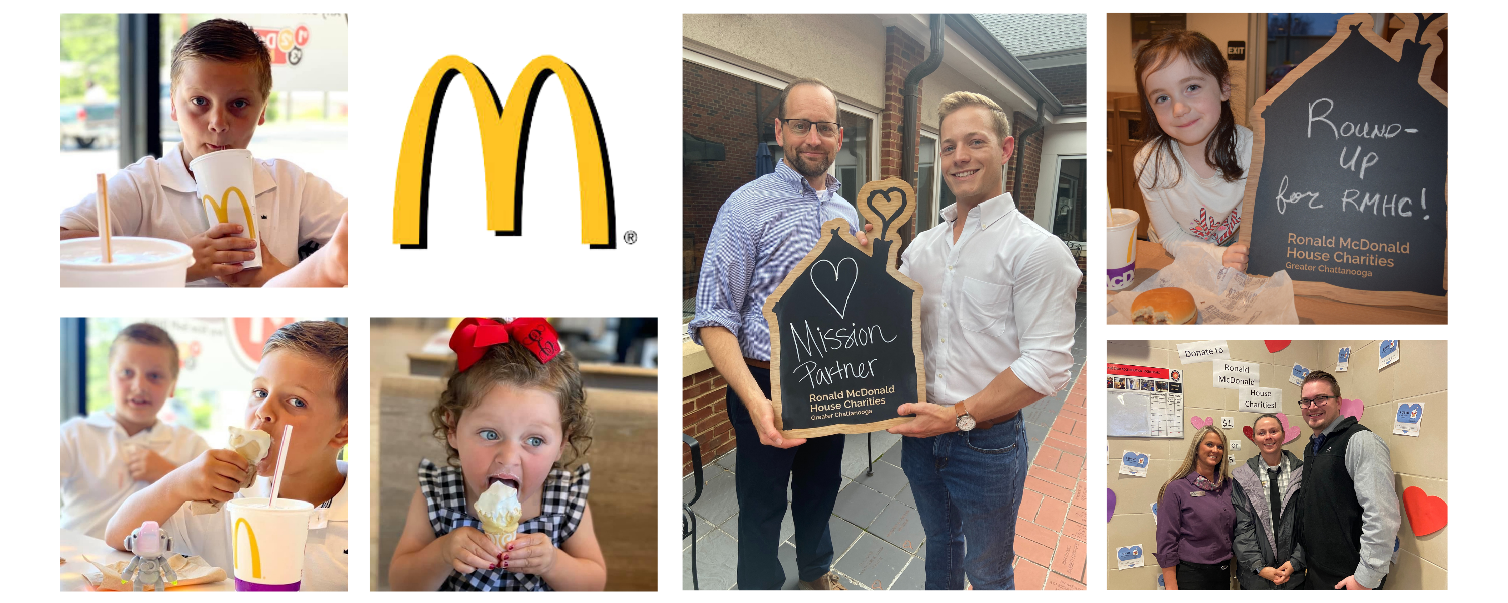Kids at McDonald's eating and drinking, McDonald's Owner/Operators holding up a mission partner sign, McDonald's Managers in a photo capture of a donation campaign