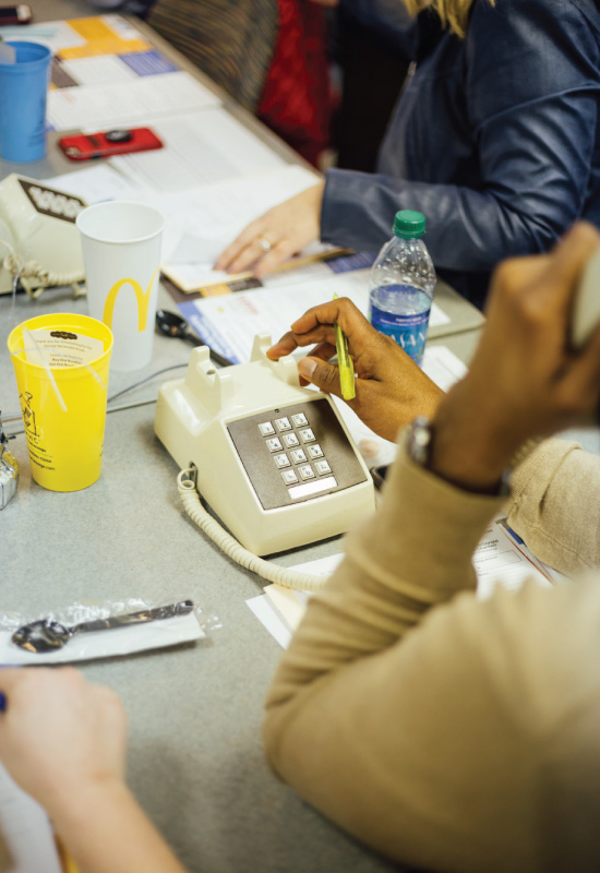 volunteer placing a phone call