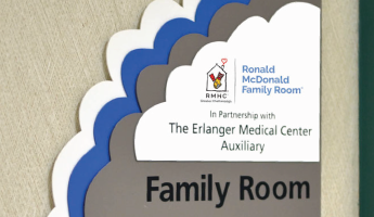 ronald mcdonald family room sign in partnership with the Erlanger medical center auxiliary