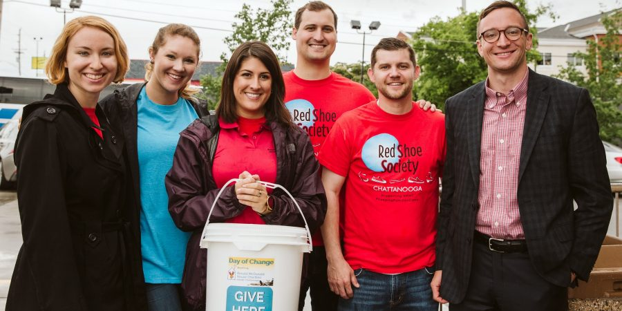 members of the red shoe society gathered to serve on day of change collecting donations for the RMHC of greater chattanooga
