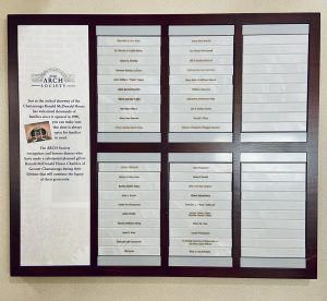 the ARCH society wall of donors